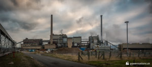 Rear of the power station mid-demolition of the chimneys