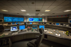Control room from behind the engineering workstation