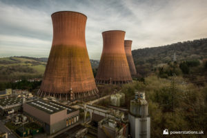Three of the four cooling towers viewed from the power station