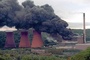 Smoke and flames emanating from the burning turbine hall in 1998