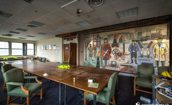 The mosaic on display in the conference room