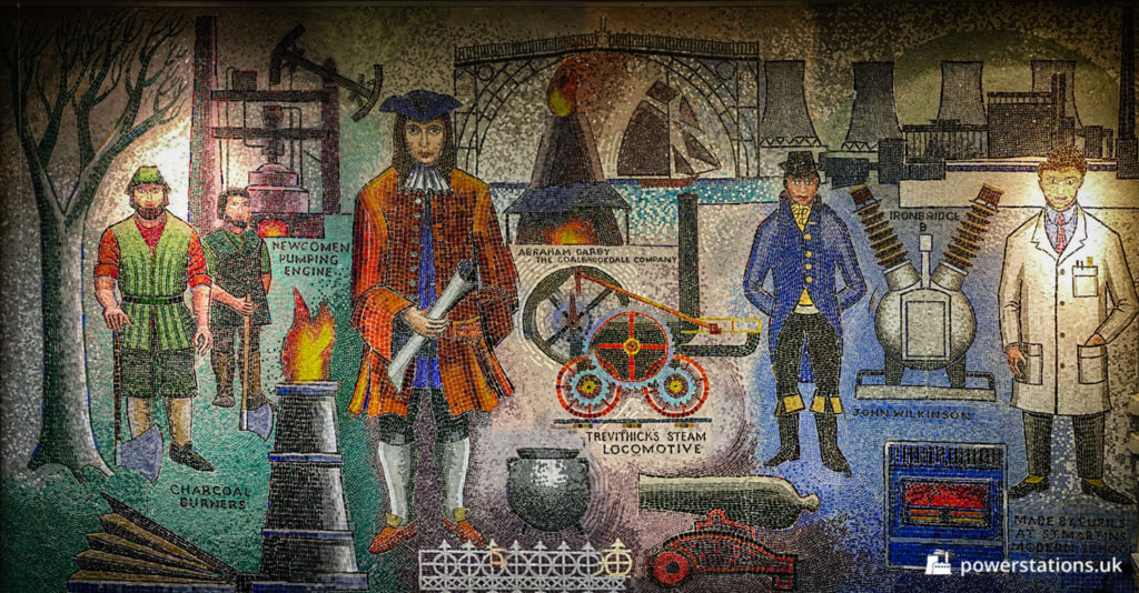 The mosaic depicts the history of industry around the Ironbridge Gorge and surrounding areas