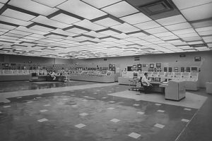 The original control room in 1993. Note the illuminated ceiling