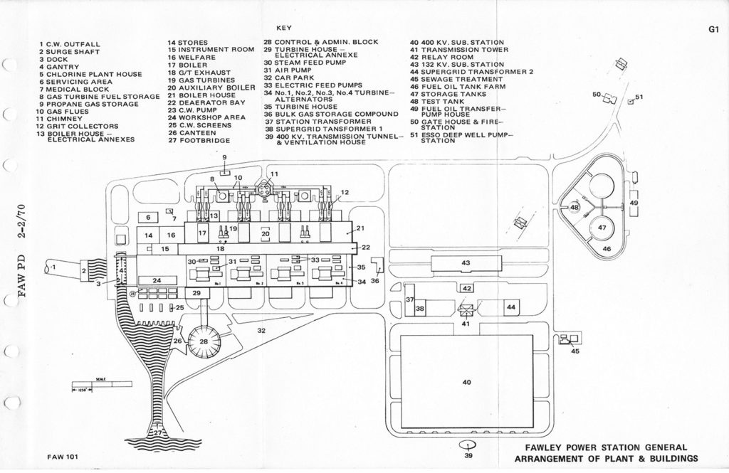 Fawley Power Station General Arrangement of Plant and Buildings - From the Plant Details handbook