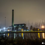 Uskmouth B Power Station at night