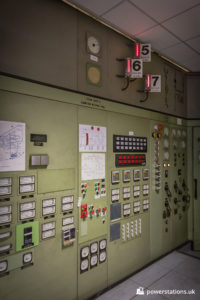 Old panels in the main control room
