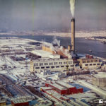 Image of all 4 power stations in the snow, as seen on display in the D station control room