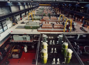 Archive picture of Longannet's turbine hall with original colours