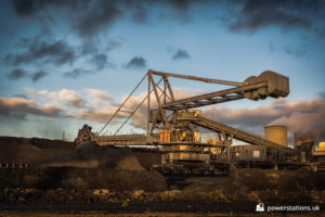 Bucketwheel excavator unloading the coal stock