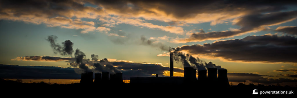Silhouette of Drax Power Station at sunset