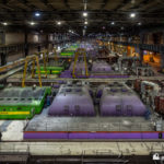 View over the 8 lines of turbines in the turbine hall