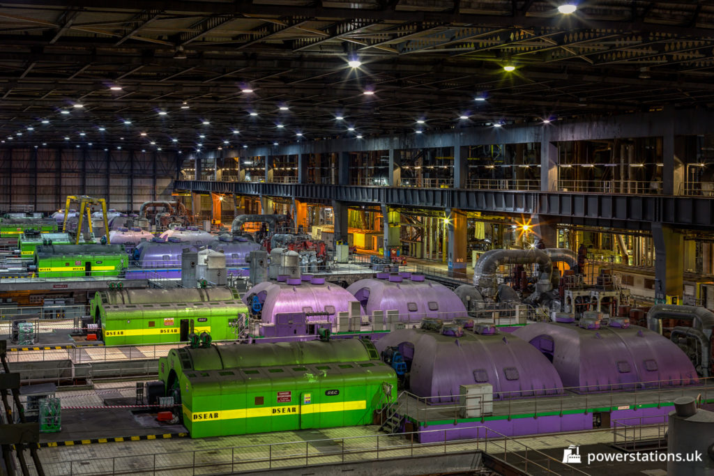 General view of units 2 to 6 in the Longannet turbine hall