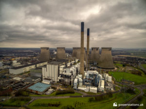 Aerial view of Ferrybridge C with the cooling towers behind the power station buildings