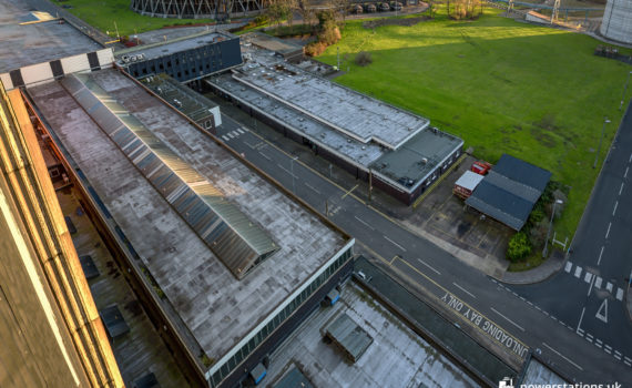 Rugeley B Workshops (left) and admin block (right) with the link-bridge at the top of the image