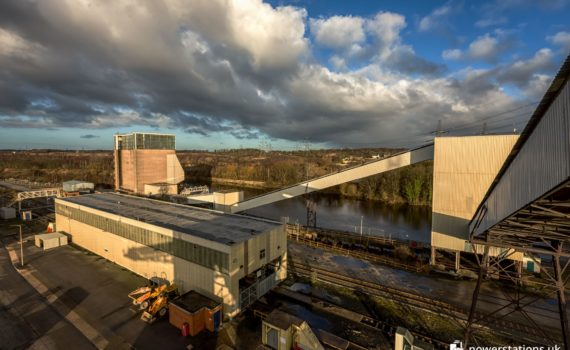 The coal plant at Ferrybridge with the rail unloader bottom left and the barge tippler behind