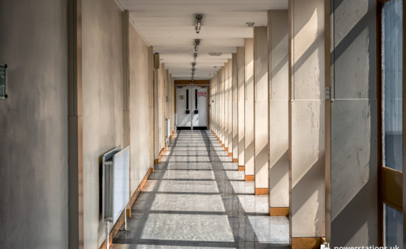 The corridor adjoining admin and workshops to the main plant