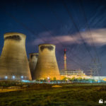 Ferrybridge C cooling towers and one chimney at night