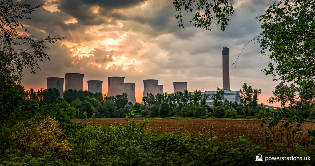 Sunrise over Eggborough Power Station viewed from the west