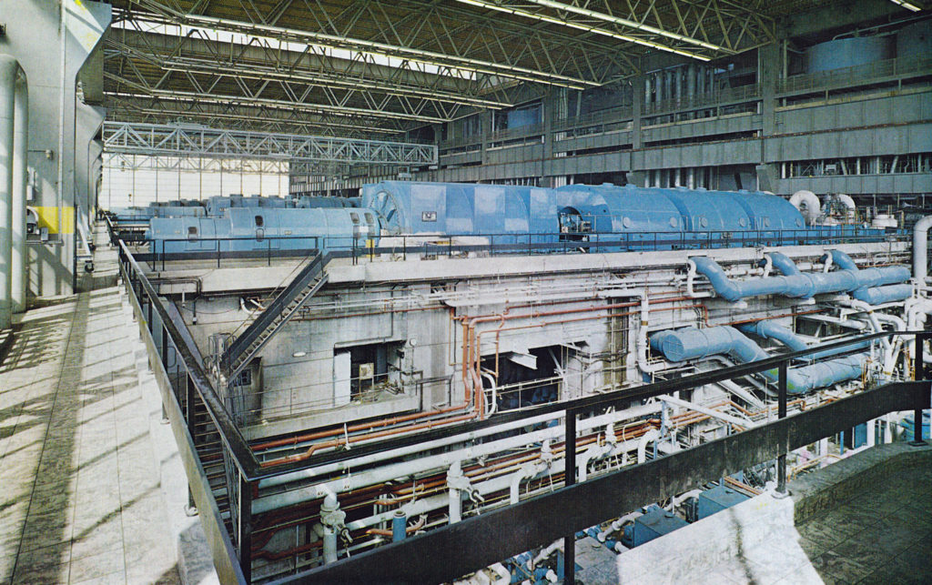 Turbine hall, 1970, with No. 1 generator in the foreground.
