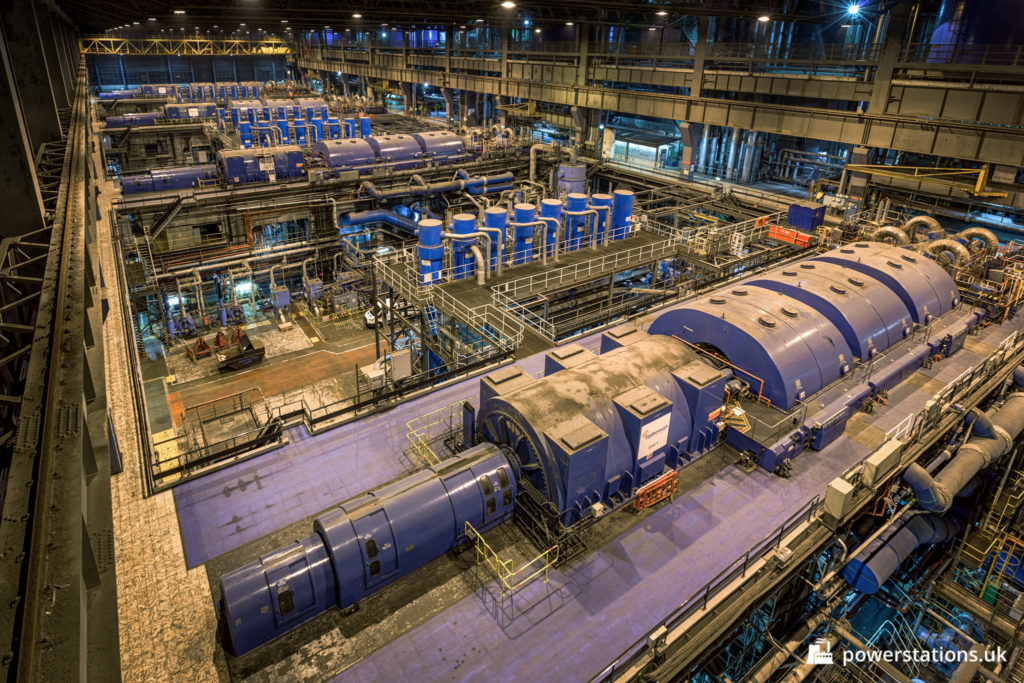 The turbine hall of Eggborough Power Station
